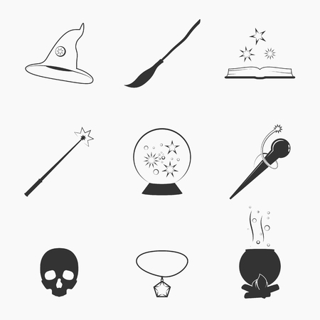 Set of isolated icons on a theme magic Illustration