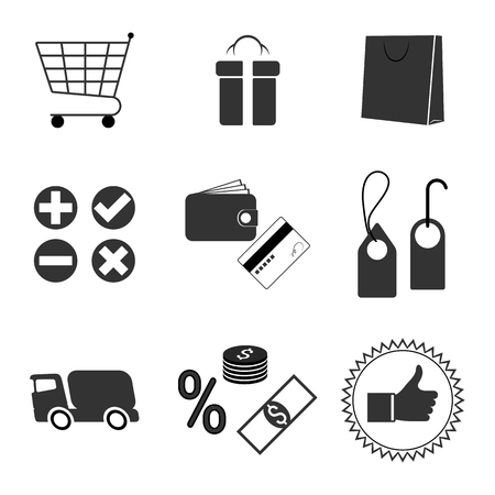 gift basket: Set of isolated icons on a theme store
