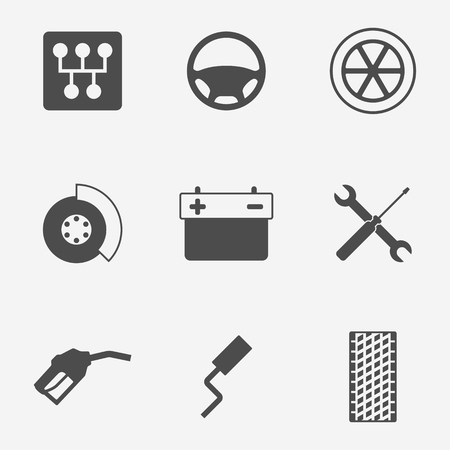 Set of isolated icons on a theme car elements 向量圖像