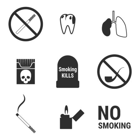 Set of islated icons on a theme no smoking