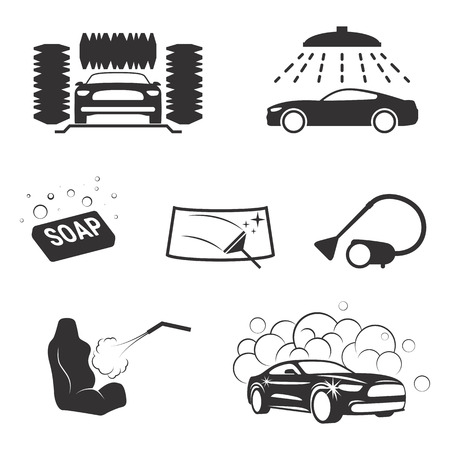 Set of isolated icons on a theme carwash