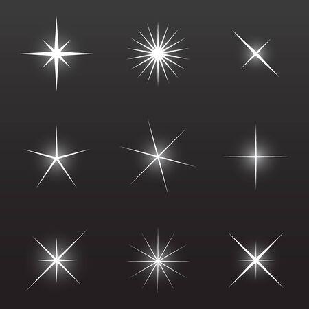 vector illustration of nine Sparkle symbols Illustration