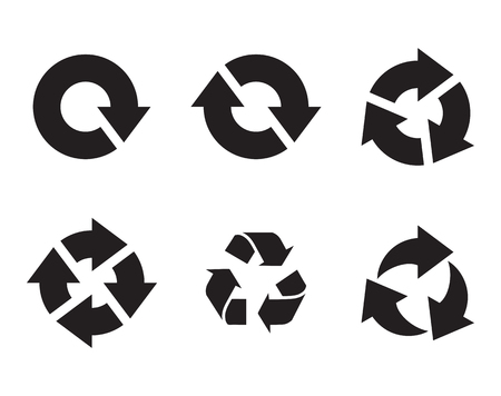 Set of arrow refresh reload rotation sign icons Illustration