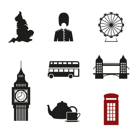 london tower bridge: Set of isolated icons on a theme british culture Illustration