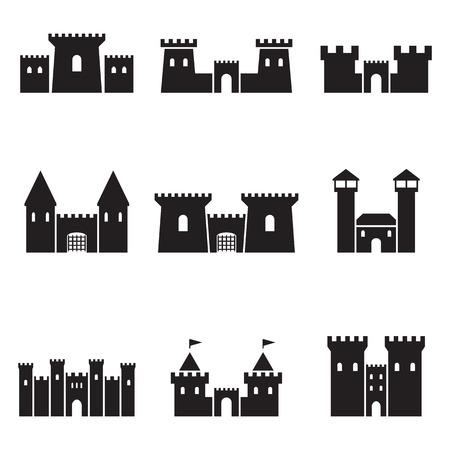 ensemble d & # 39 ; icônes noires isolés sur un thème châteaux de golf