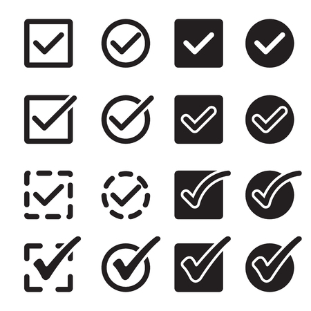 confirm: Black simple isolated confirm icons set