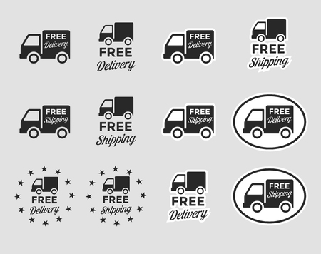 Set of isolated icons on a theme free delivery