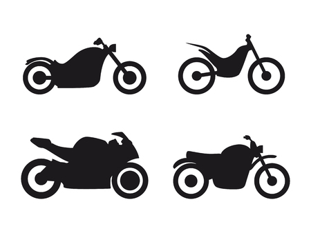 Set of isolated icons on a theme motorcycle black color