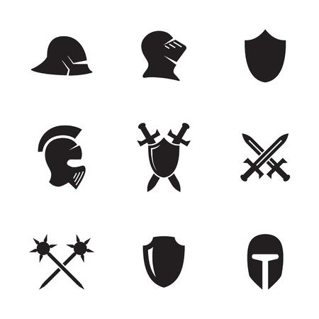 Conjunto de iconos aislados en un tema símbolos de guerra