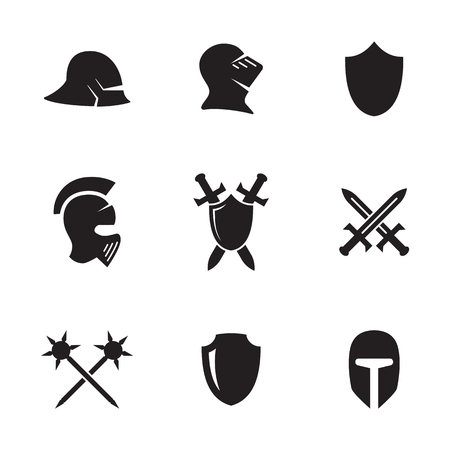 Set of isolated icons on a theme war symbols Illusztráció