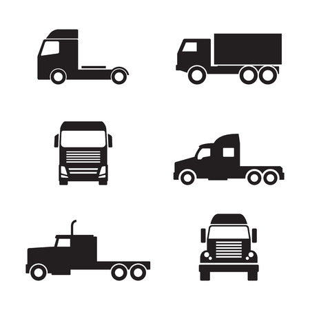 automotive industry: Set of black truck icons isolated on white background Illustration