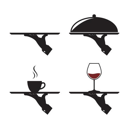 icônes noires de la main de l'homme avec un plateau, avec une tasse de verre à vin
