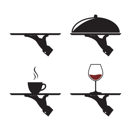 black icons of human hand with a tray, whith cup wineglass dish