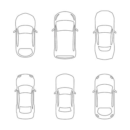 Set of top view car silhouettes linear illustration