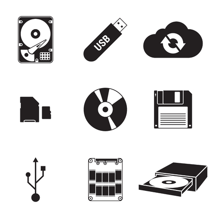 Set of isolated black icons on a theme Data storage