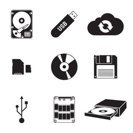 Verzameling van geïsoleerde zwarte pictogrammen op een thema-gegevensopslag
