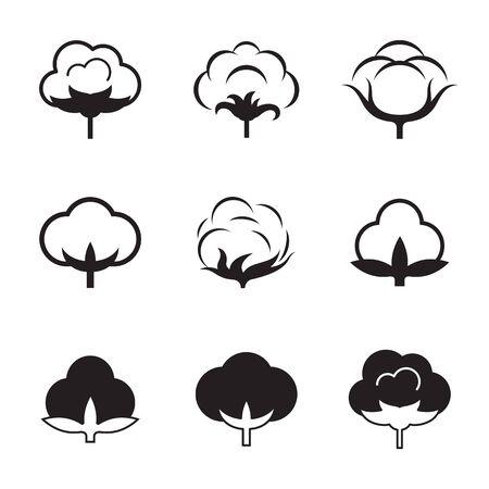 Zestaw pojedynczych, czarnych ikon na temat bawełny