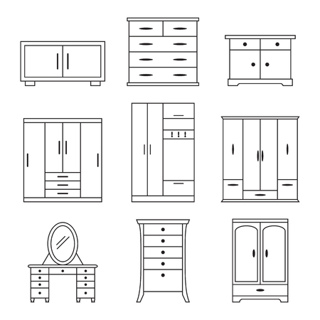 bedside: Set of linear icons on a theme cupboard Illustration