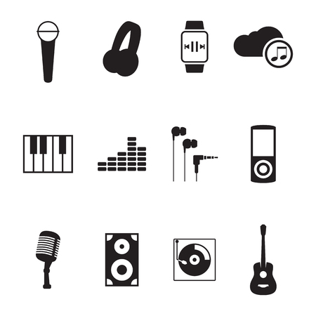 night club series: Set of isolated icons on a theme Music
