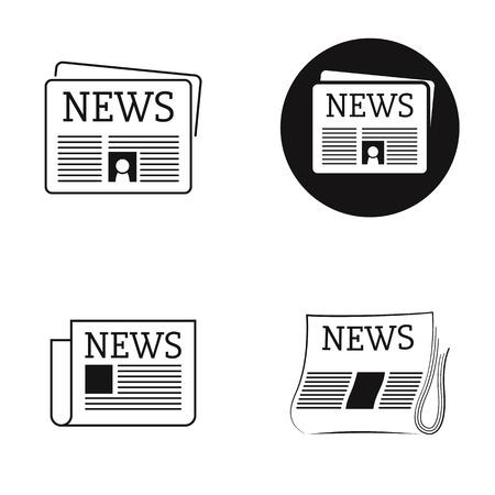 Nouvelles de journal d'icônes isolées noires Vecteurs