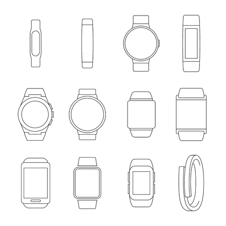 Set of isolated black icons on a theme smart watch