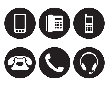 Set of isolated icons on a theme phone call