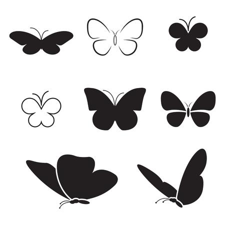 テーマ蝶の分離のアイコンのセット  イラスト・ベクター素材