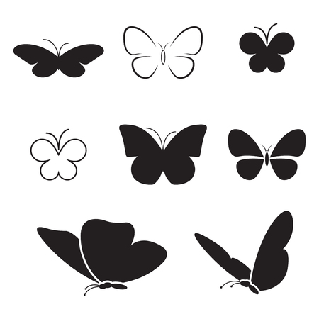 Set of isolated icons on a theme butterfly