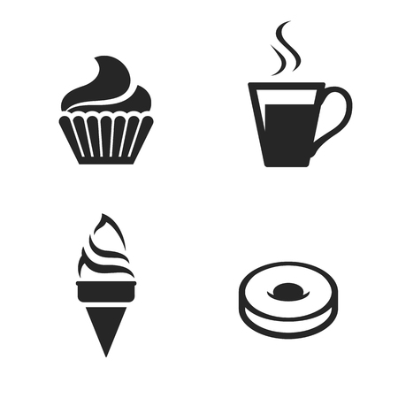 Set of isolated black icons sweet baked goods and desserts on white background