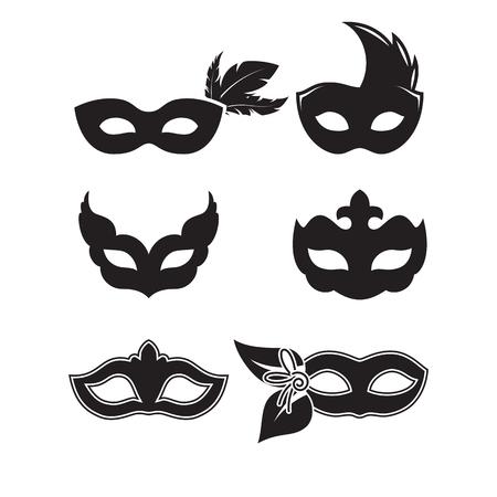 La siluetta nera delle maschere festive dell'illustrazione su un fondo bianco