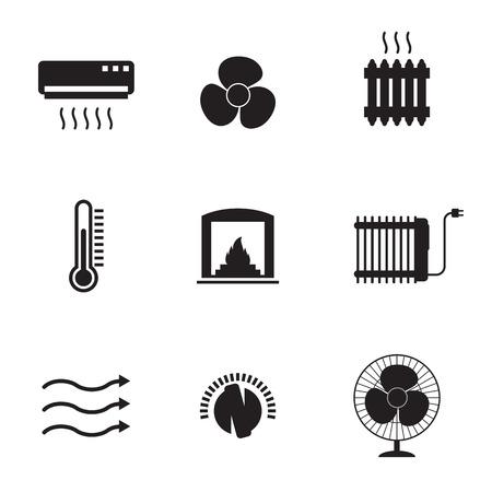 Symbole Für Heizen Und Kühlen Eingestellt. Weiß Auf Schwarzem ...