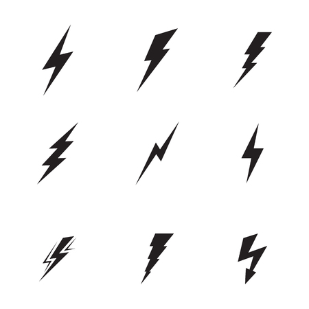 Set of isolated, black icons on a theme lightning Çizim