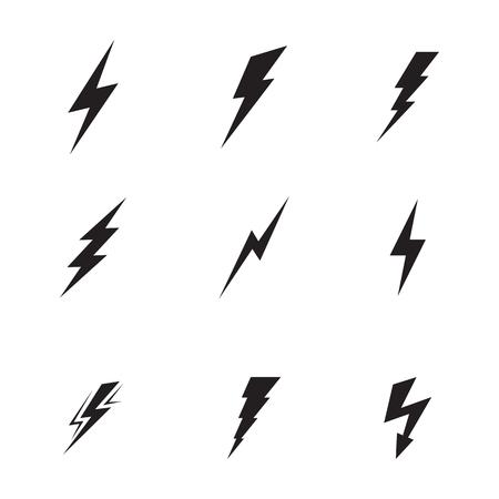 Verzameling van geïsoleerde, zwarte pictogrammen op een thema-bliksem Vector Illustratie