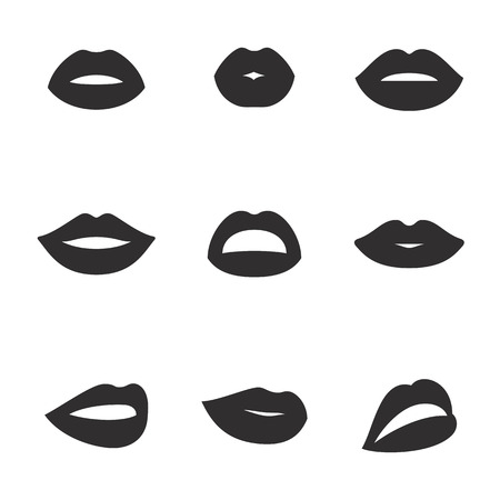 Set of isolated, black lip icons on a theme lips