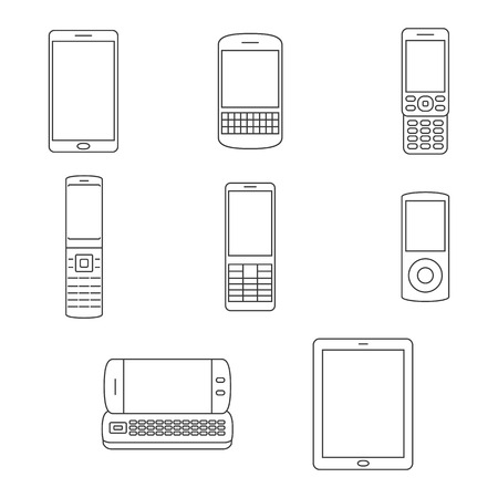 Set of isolated line icons on a theme mobile phones