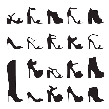 Set of isolated, black icons Heeled shoes silhouette