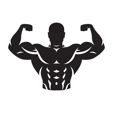 illustration of bodybuilder silhouette black on white background