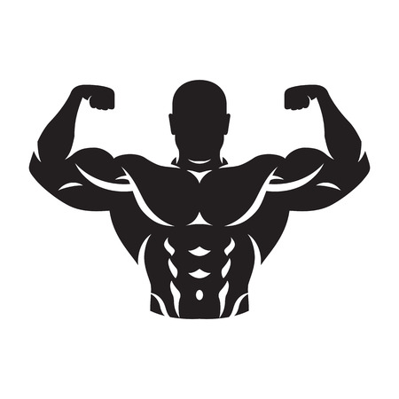illustration of bodybuilder silhouette black on white background