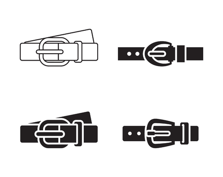 Leather belt: clothing accessories black on white background