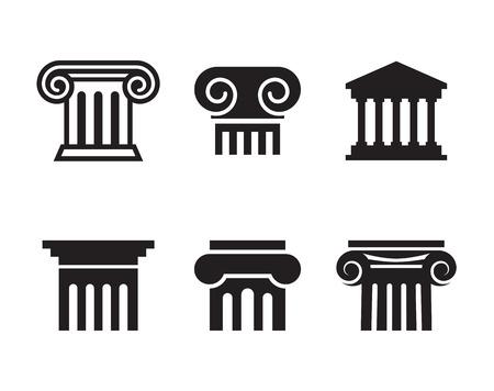 Icônes de colonne: icônes noires et isolées sur fond blanc Banque d'images - 84787728