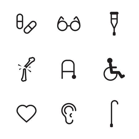 Black, contour icons on a theme disability