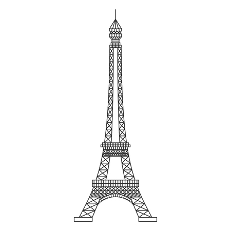 Eiffel Tower Black Silhouette on white background