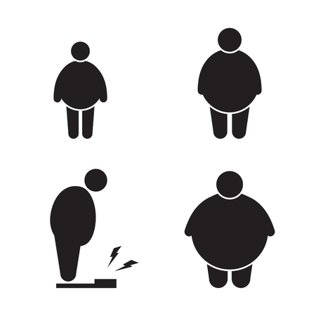Set of isolated black icons on a theme fat man