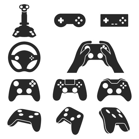 handheld device: Video game controllers black icons