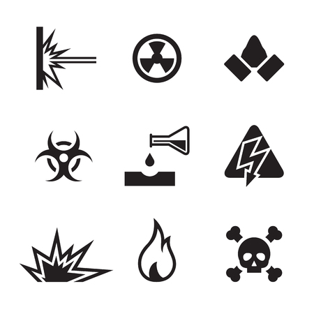 hazard and danger icons: small, black on a white background