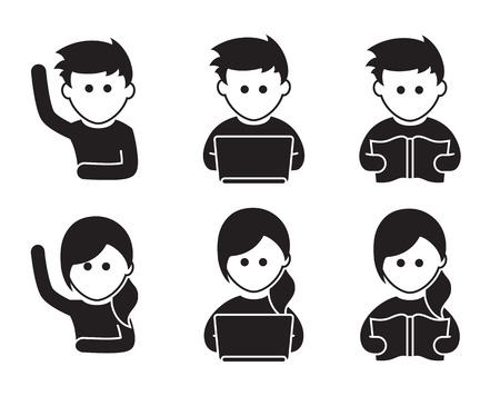 Students icons: student reads, the student is studying, the student pulls a hand Иллюстрация