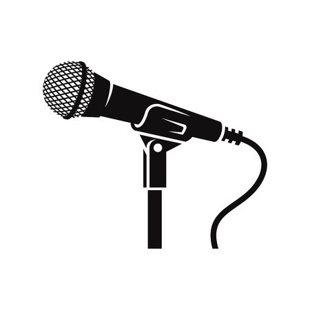 Microphone on a stand: classic, black silhouette. Illustration