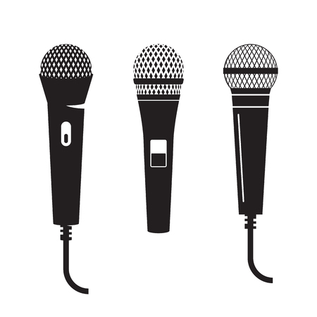 microphone set: black, isolated icons on a white background