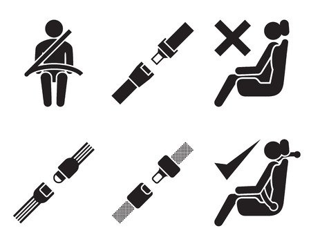 seat belt icons: set of elements for design, black on white background Vectores