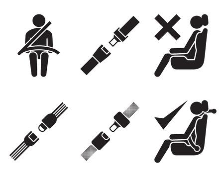 cinturon seguridad: Iconos de cinturón de seguridad: conjunto de elementos para el diseño, negro sobre fondo blanco Vectores
